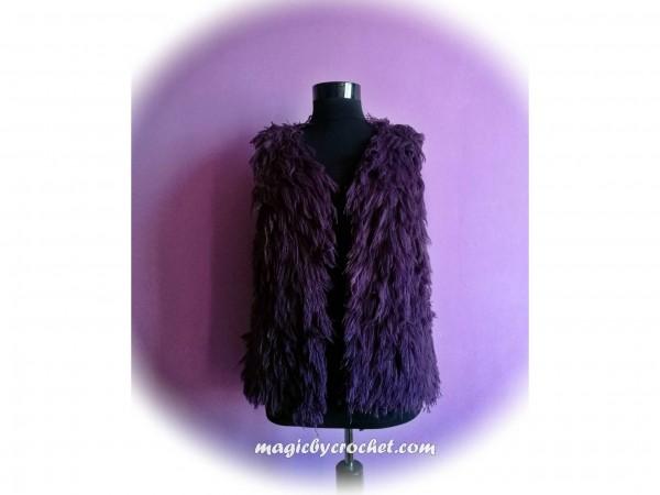 Fur Vest, Handmade Crochet Fringe Vest , Womens Crochet Fur Vest, Bohemian Vest