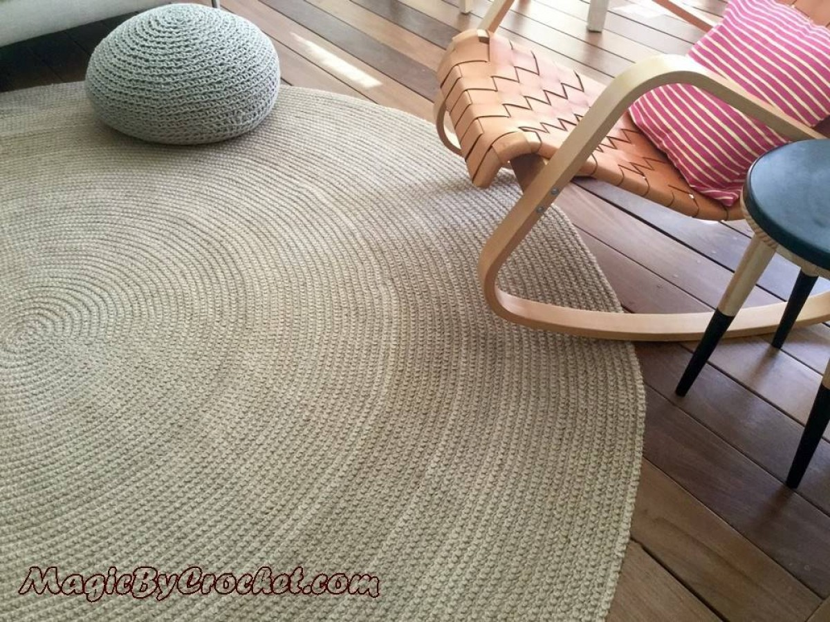 Premium Jute Area Rug, 10 ft, 300 cm, Large Natural Jute Rug, Hand crochet, no.004