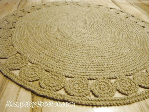 Natural Rug, Round Jute Rug, 4 ft ( 120 cm ), Hand Crochet Rug, Braided Rug, no.028