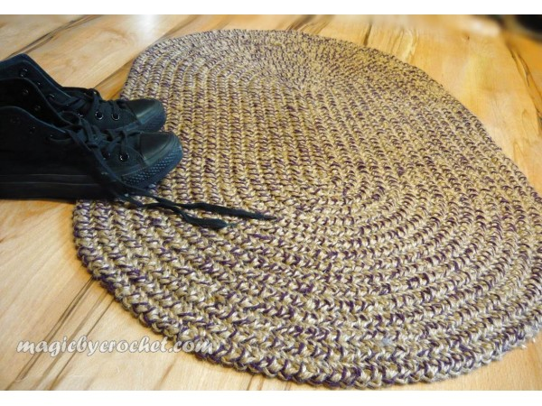 Oval Braided Rug, Braided Doormat, 2x3 ft Rug, Colors blend Rug , no.029