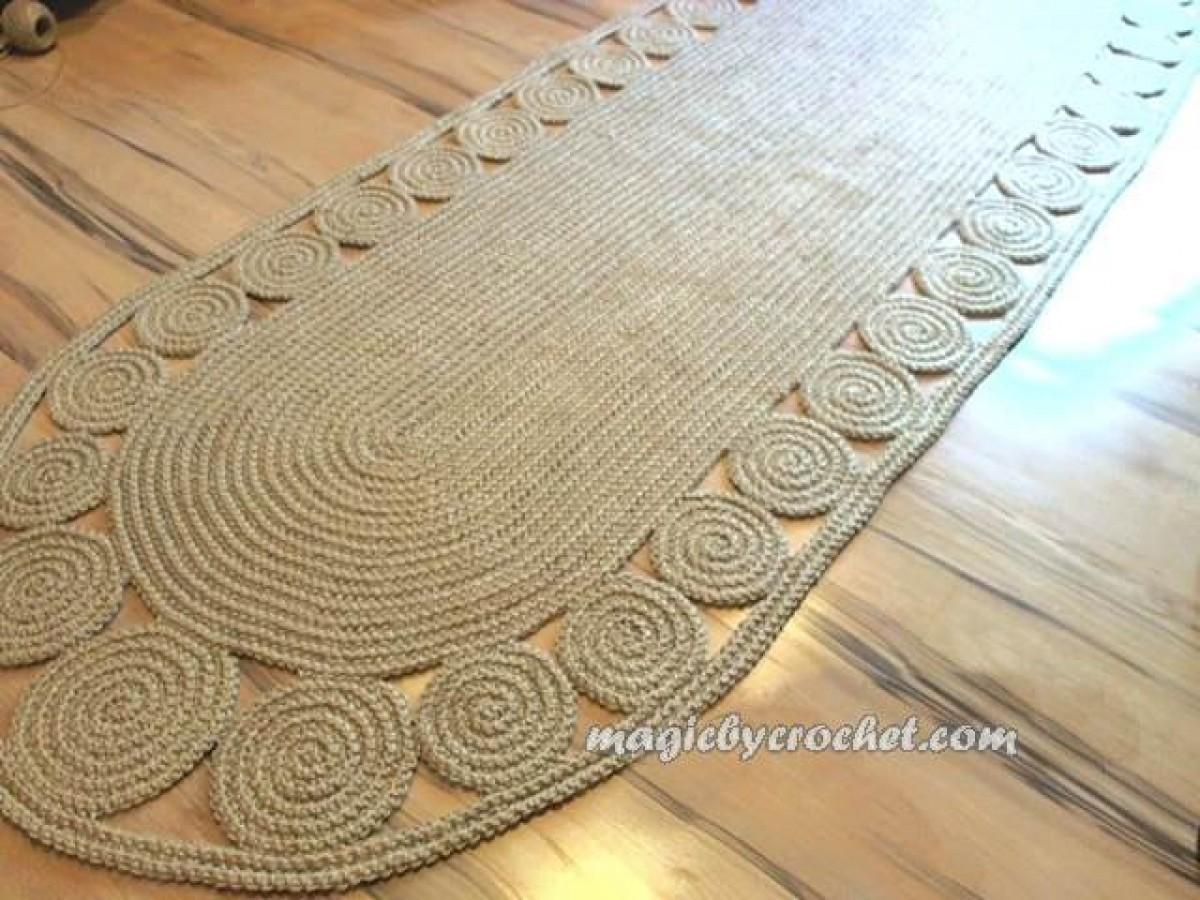 Hallway Rug 9 Foot Twine Crochet Long Runner Jute No 030