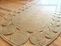 Hallway Rug 9 foot rug, Twine Crochet rug, Long Runner rug, Jute runner rug, no.030
