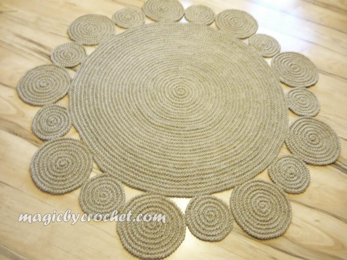 Crochet Rug 4 Ft ( 120 Cm ) Flower Design Rug By Natural Jute, No.034