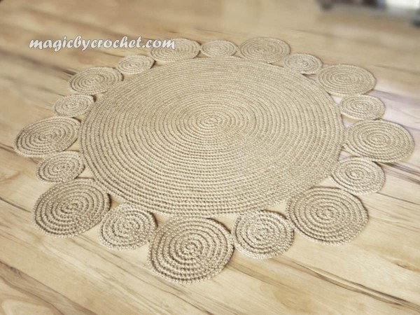 Crochet Rug 4 ft ( 120 cm ) Flower design Rug by natural jute, no.034