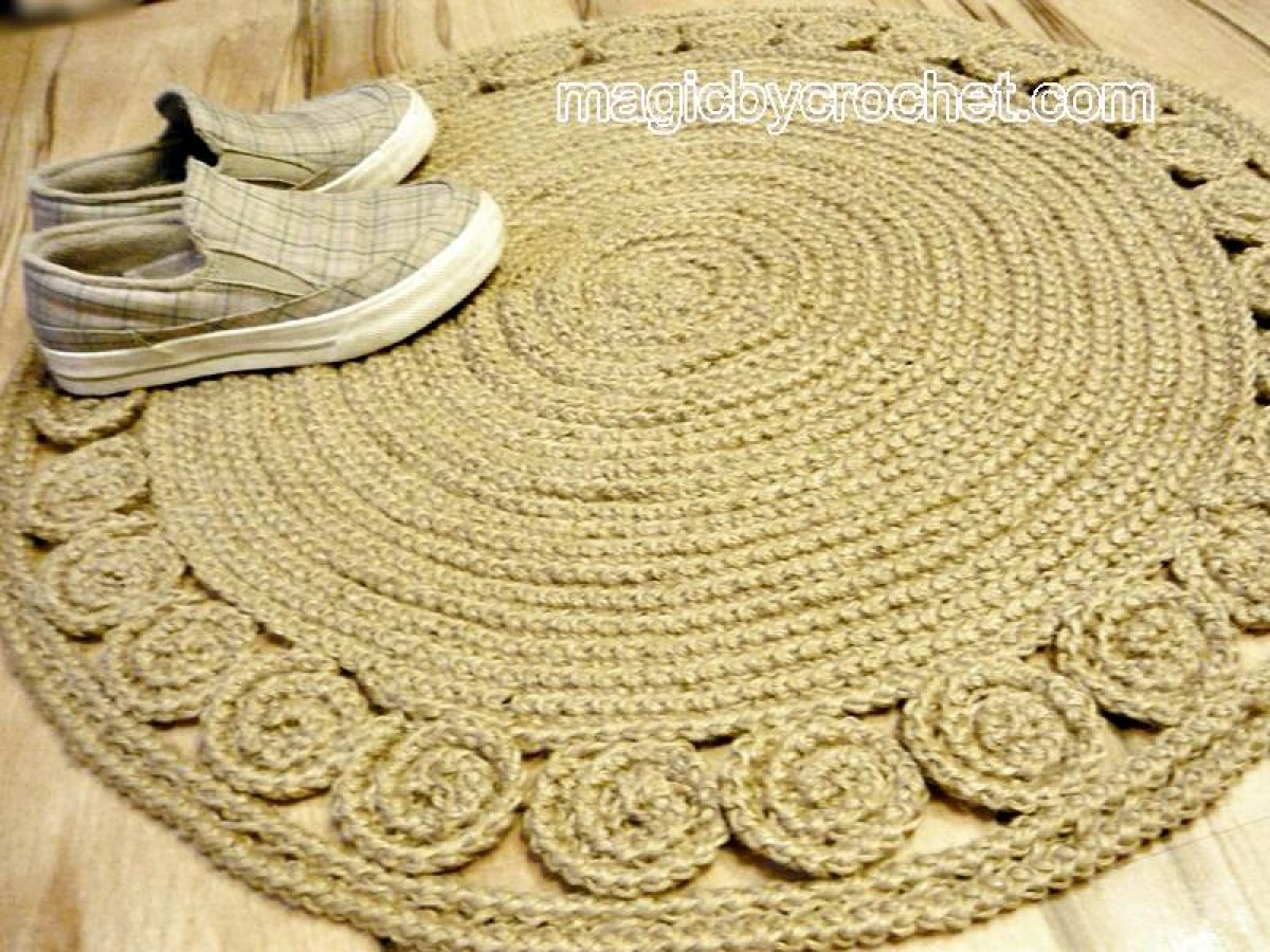 Jute Rug Braided Round Crochet Handmade Unique No 035