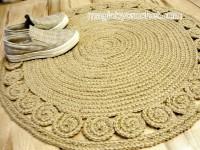 Jute rug, Braided rug , Round crochet rug Handmade rug, Unique, no.035