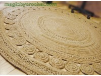 Amazing Jute Rug, Living Rug 7 foot, Luxury, Large rug, Handmade Area Rug, , Deluxe Rug, no.055