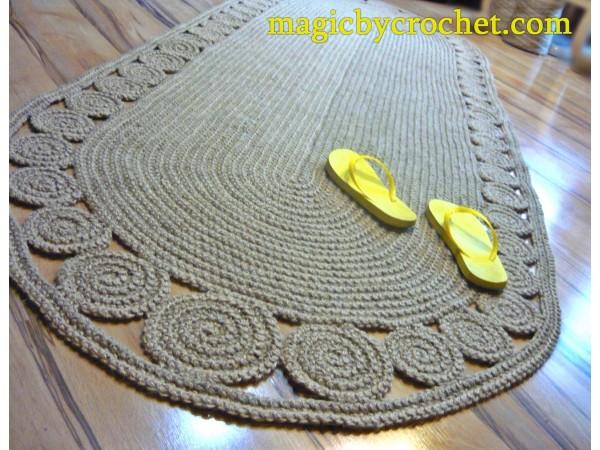 Jute Rug 6 ft rug, Crochet Braided rug, Jute runner rug, no.059