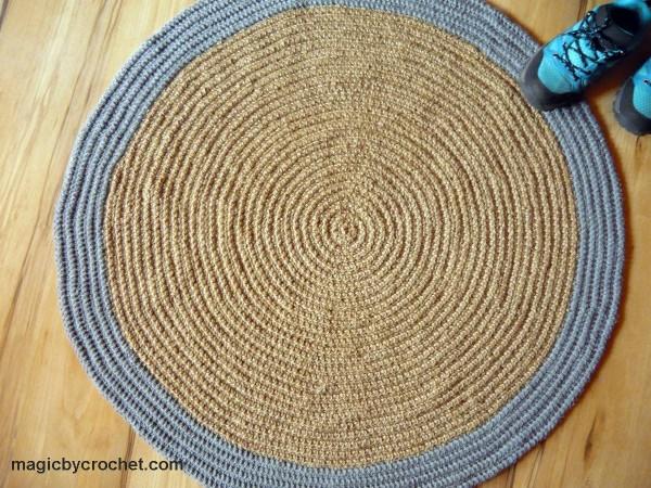 Modern Area Rug, Round rug, Jute rug, 3 ft rug, Pet friendly rug, Handmade rug, no.099