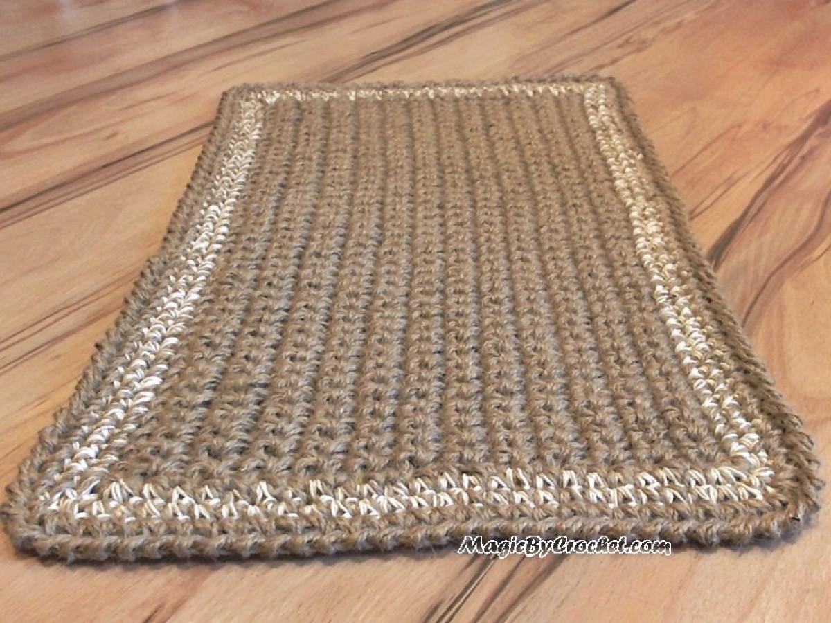 Jute Doormat, Crochet Rug, Door Rug Handmade Welcome Rug, No.011
