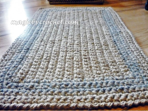 Gray border Doormat, Simple Jute Rug, Custom color border, Handmade rug, no.023
