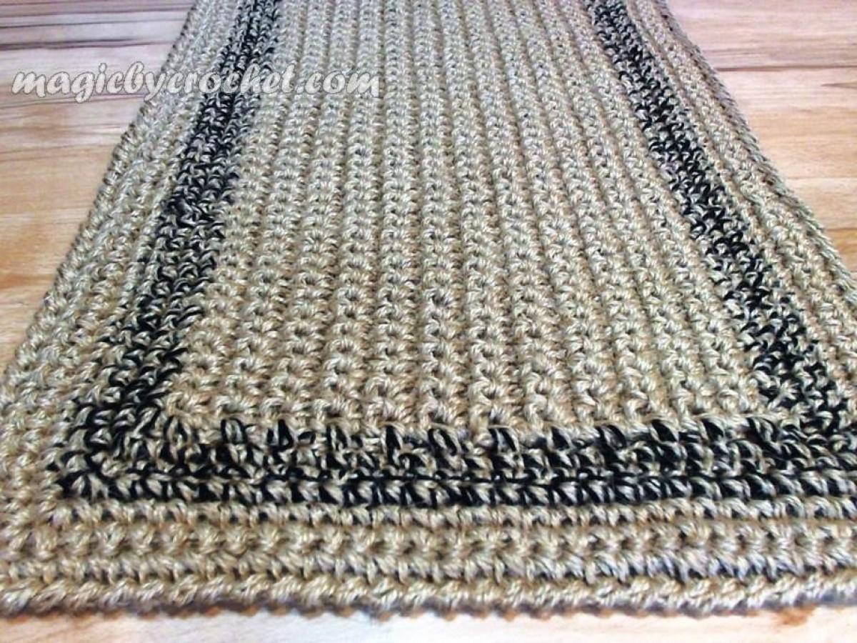 Large Doormat Simple Jute Rug Custom Color Border Crochet Door No 024