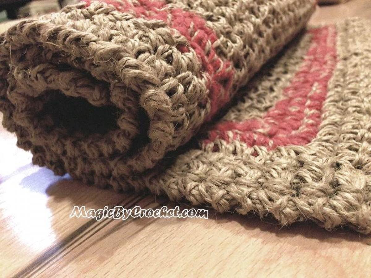 Large Doormat, Simple Jute Rug, Custom Color Border, Crochet Door Rug,  No.026