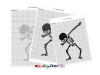 Single bed blanket, C2C crochet graph, Written counts, PDF download, Corner to corner pattern, Dabbing skeleton, No.054