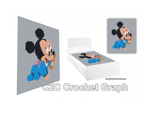 Baby Mickey Mouse, C2C Crochet Graph / Cross stitch, PDF Chart, No.213