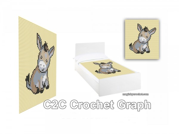 Baby Donkey, C2C Crochet pattern,C2C Crochet Graph / Cross stitch, Pdf Chart, No.215