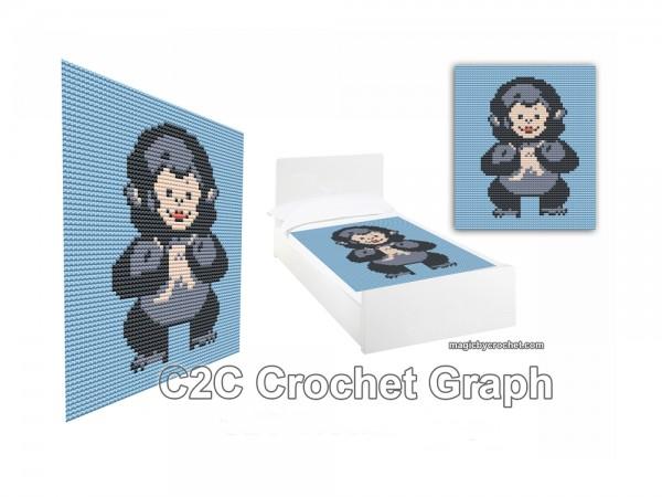 Baby Gorilla, C2C Crochet pattern,C2C Crochet Graph / Cross stitch, Pdf Chart, No.216