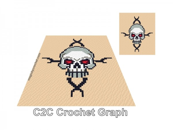 Skull C2C crochet Graph, Goth PDF Chart, Instant Download, Blanket for him, No.219