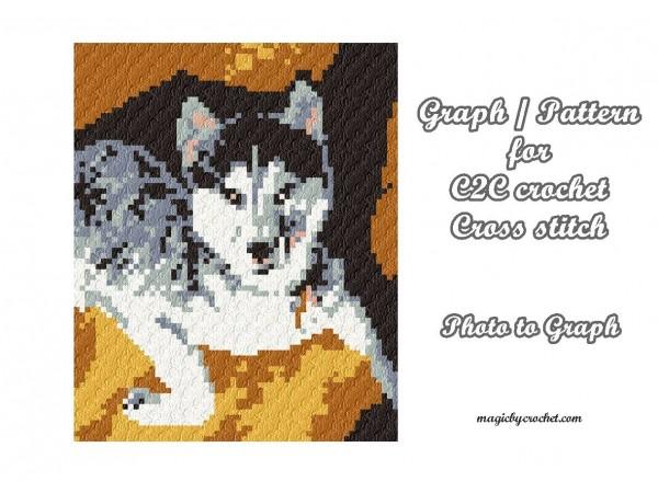 C2C Crochet Graph, Husky, C2C Chart, Corner to corner blanket, Instant Download, No.407