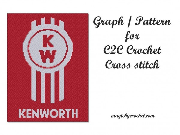 Kenworth, C2C Crochet Graph, C2C Chart, Corner to corner blanket, Instant Download, No.408