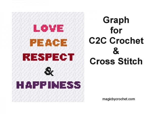 C2C crochet Graph, Love - Peace pattern, PDF Chart, Instant Download, No.410