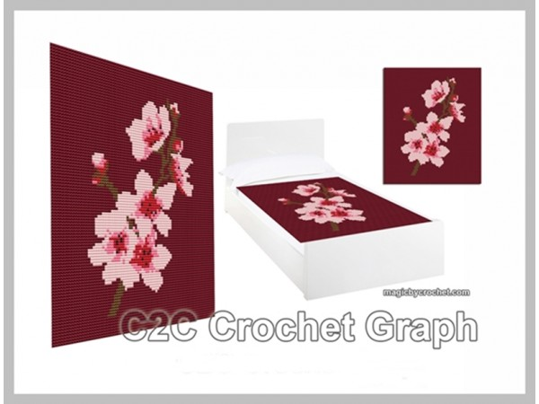 C2C Crochet Graph, Cherry Blossom Graph, C2C Chart, Instant Download, No.001