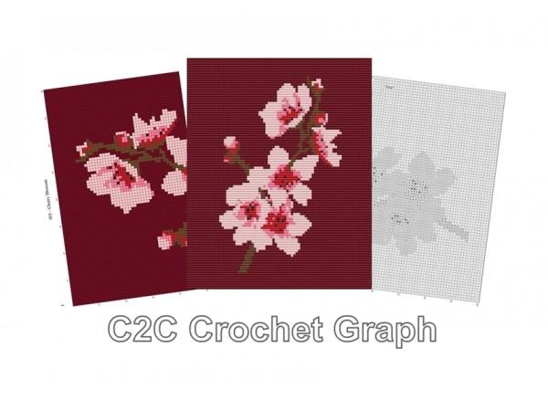 C2C Crochet Graph, Cherry Blossom Graph, C2C Chart, Instant Download, No.001