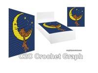 C2C crochet Graph, Sleeping Bear on the Moon, PDF Chart, No.210