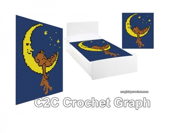 C2C crochet Graph, Sleeping Bear on the Moon, PDF Chart, No.210