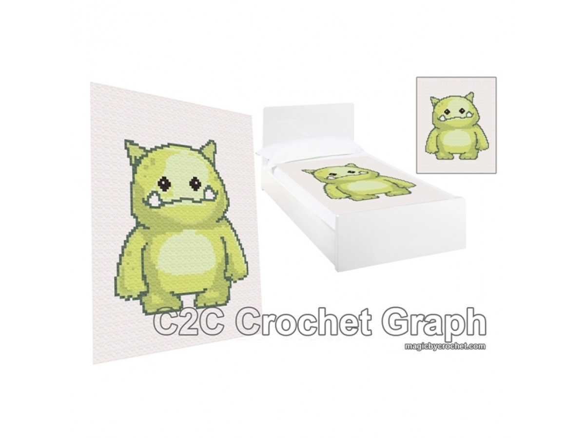 C2C crochet Graph, Monster Ogre PDF Chart, Instant Download, No.003