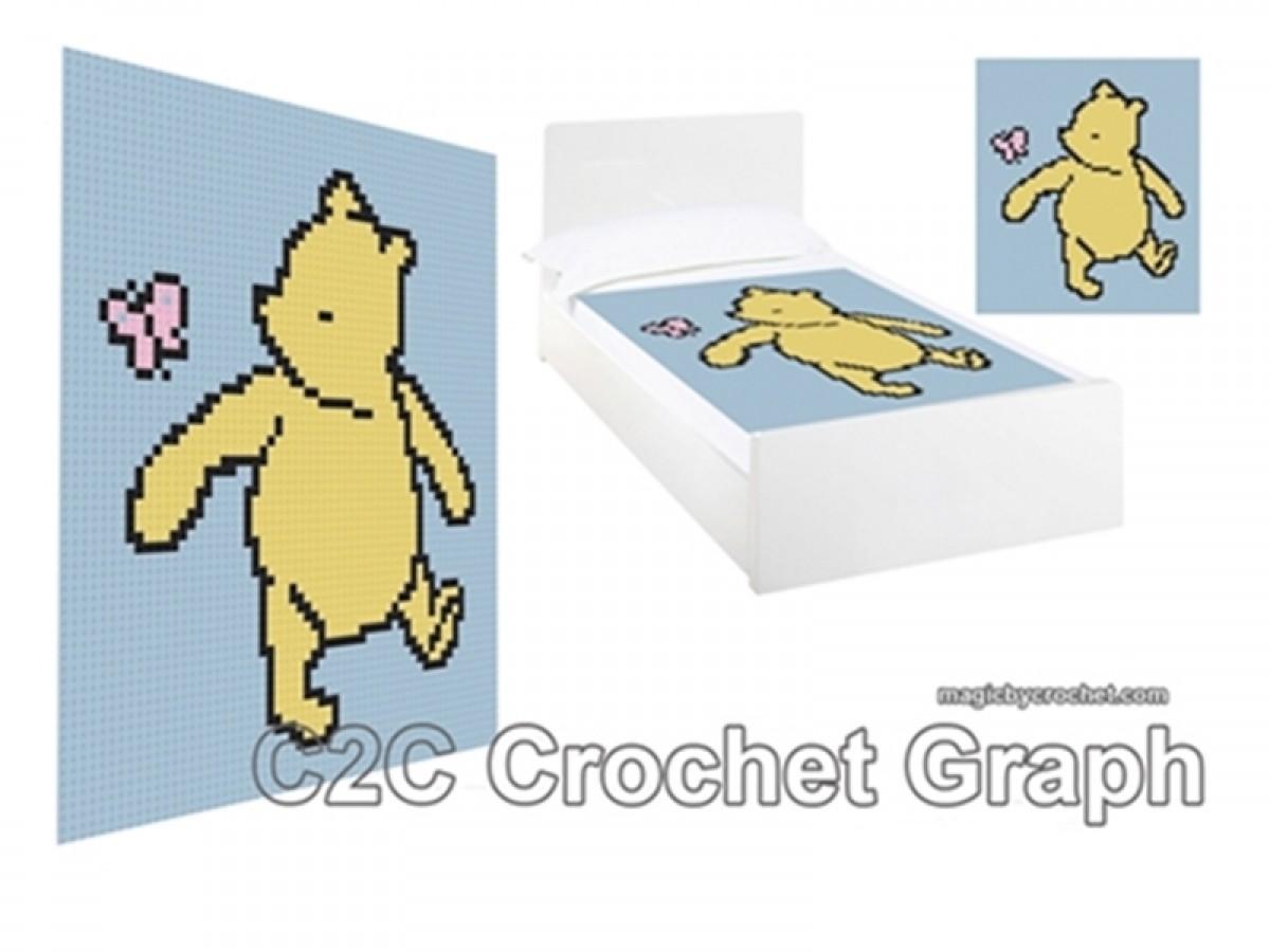 C2C crochet Graph, Classic Winnie the Pooh PDF Chart, Instant Download, No.010
