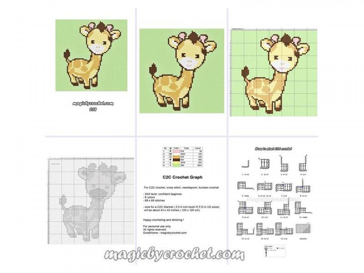 C2C crochet Graph, Cute Baby Giraffe PDF Chart, Baby Blanket Graph, Square blanket,No.018