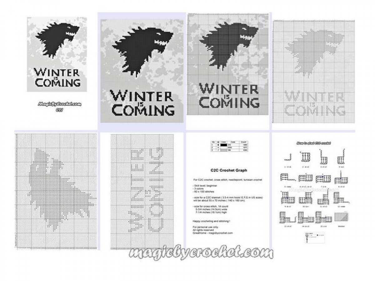C2c crochet patterns corner to corner c2c crochet graph winter c2c crochet graph winter is coming c2c chart instant download no bankloansurffo Images
