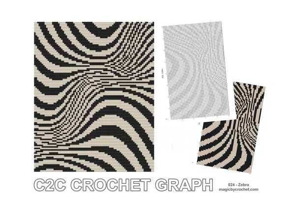 C2C crochet Graph, Zebra pattern, PDF Chart, Instant Download, No.024