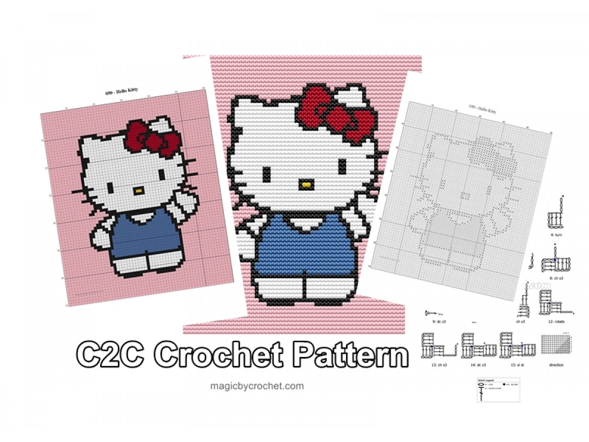 Hello Kitty - C2C Crochet Pattern, PDF Chart, Instant Download, No.050