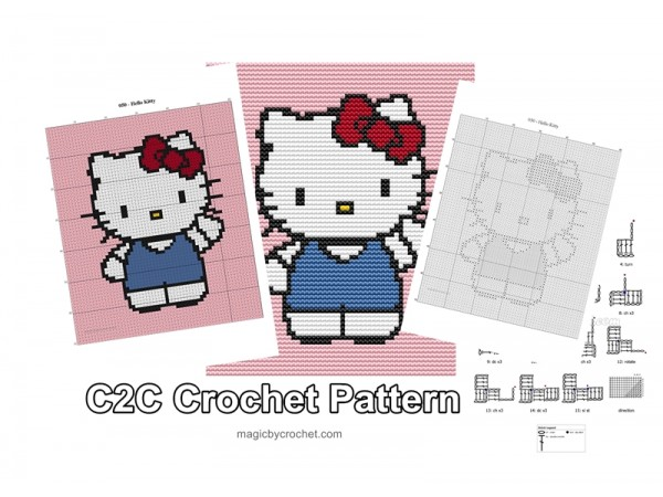 Hello Kitty - C2C Crochet Pattern, PDF Chart, Instant Download, No.050