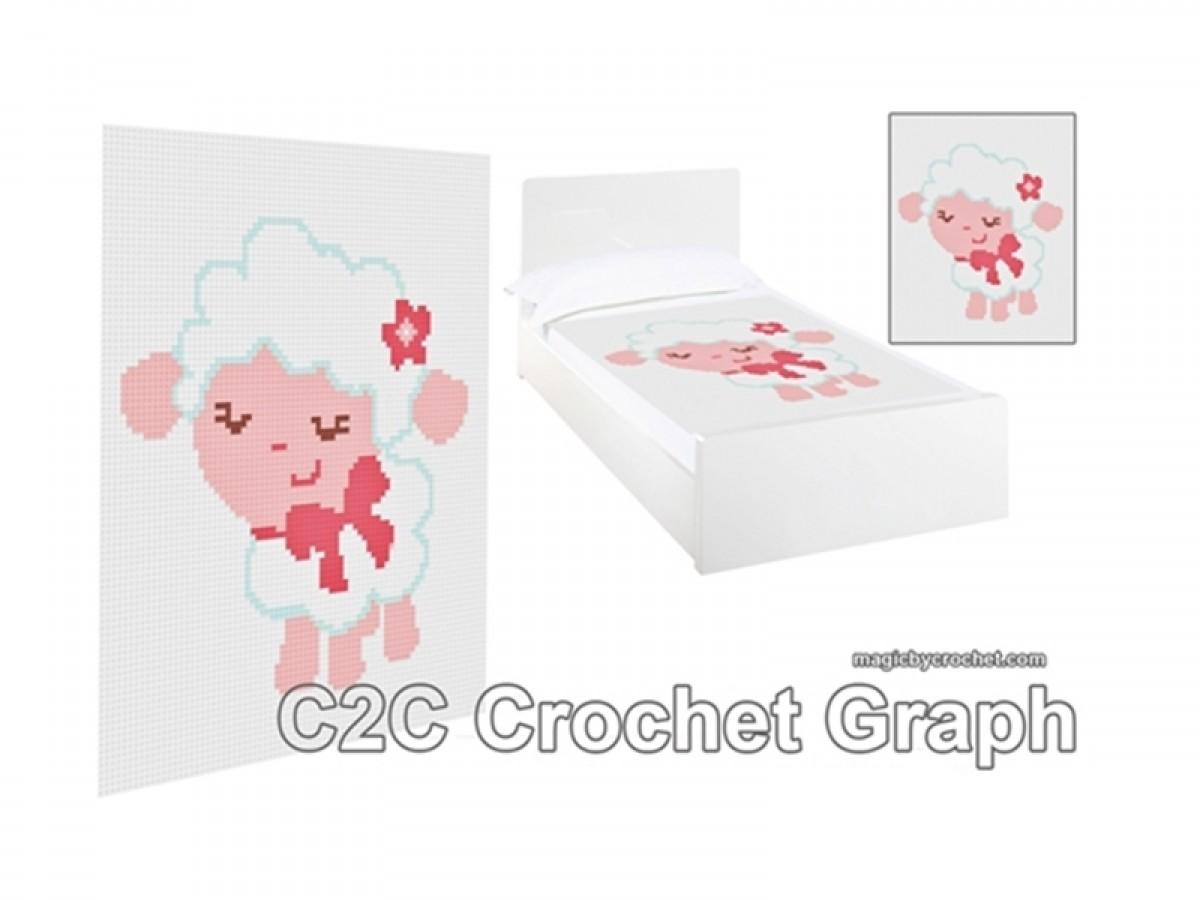 C2C crochet Pattern, Baby Lamb PDF Chart, Corner to corner , No.064