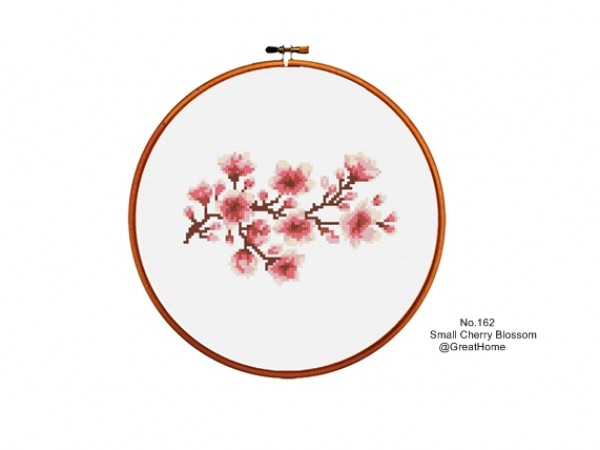 Small Cherry Blossom Cross Stitch Chart Pattern, PDF instant download, No.162, Instructions