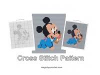 Baby Mickey Mouse, Cross Stitch Pattern, Cute Baby Animnal, PDF Chart, No.213