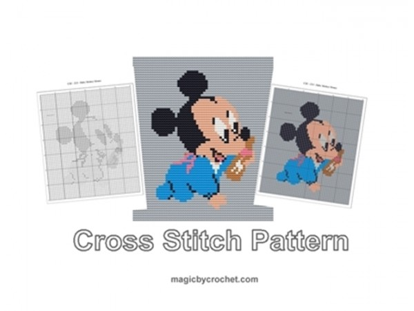 Baby Mickey Mouse, Cross Stitch Pattern, Cute Baby Animnal, PDF Chart, No.213