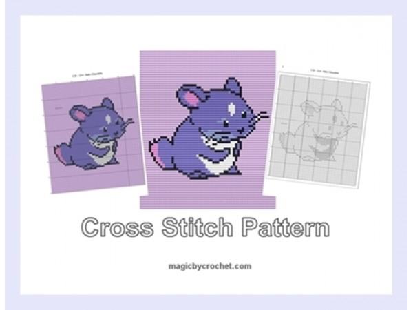 Baby Chinchilla, Cross Stitch Pattern, Cute Baby Animnal, PDF Chart, No.214
