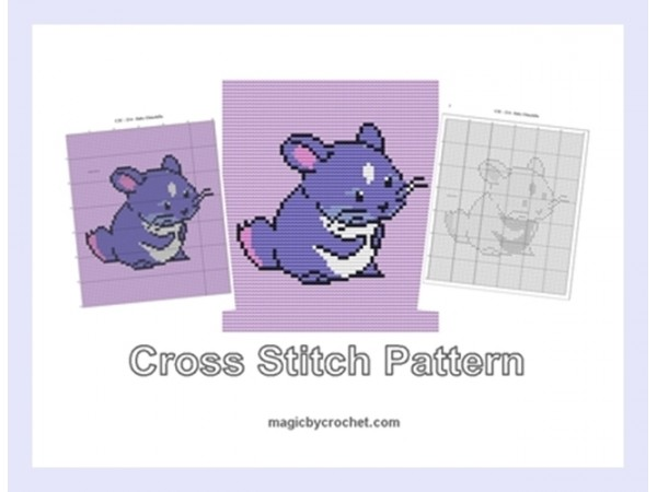 Baby Chinchilla, Cross Stitch Pattern, Cute Baby Animnal, PDF Chart, No.214
