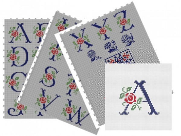 Antique Alphabet -Cross Stitch -Pattern-Upper letters-Rose Alphabet, No.014