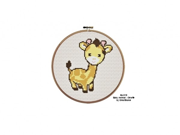 Baby Giraffe Cross Stitch PDF Pattern, C2C crochet Graph, Instant Download,  No.018