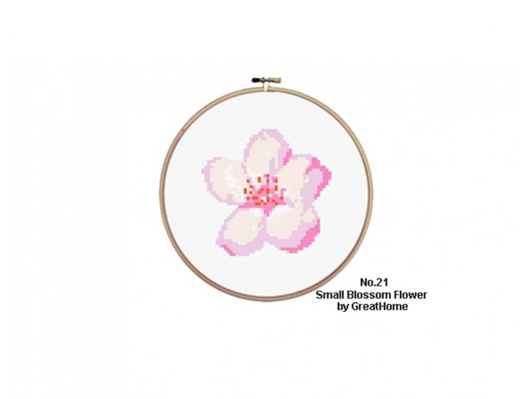 Small Blossom Cross Stitch Chart Pattern, Beginner Level, No.021,C2C Crochet Graph