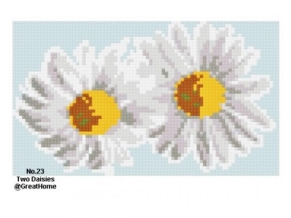 PDF instant download, Two Daisies Cross Stitch Chart Pattern,  No.024, C2C graph