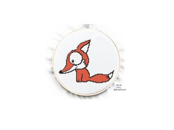Fox Cross Stitch Chart Pattern, PDF instant download, Counted cross stitch, No.040, Instruction