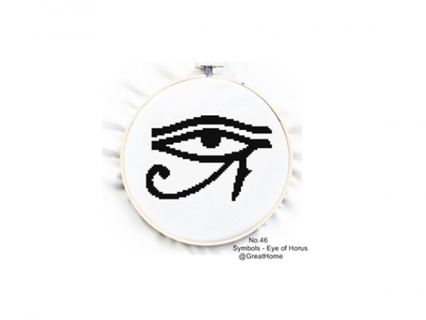 Eye of Horus , Blackwork, Cross Stitch Pattern , PDF beginner cross stitch, Protection Sign, No.046