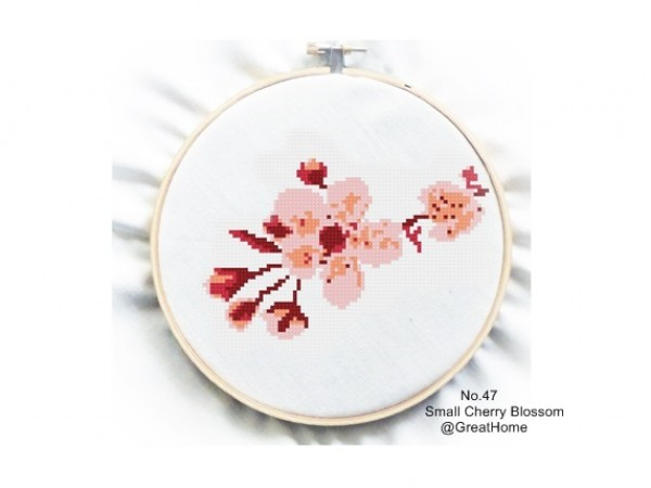 Cherry Blossom Cross Stitch Chart Pattern, Beginner Level, Crochet graph, Counted graph, no.047