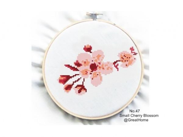 Cherry Blossom Cross Stitch Chart Pattern, Beginner Level, Crochet graph, Counted graph, no.047